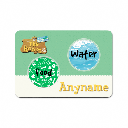 The Roost Pet Cafe Animal Crossings Design Personalised Pet Food Mat